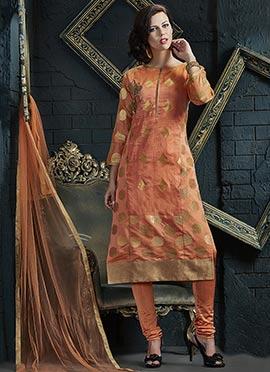 Peach Benarasi Silk Churidar Suit