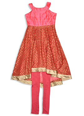 Peach Benarasi Silk Kids Anarkali Kurti