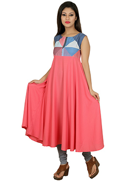 Peach Blended Cotton anarkali Kurti