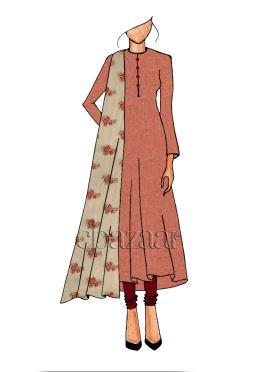 Peach Brocade Anarkali suit