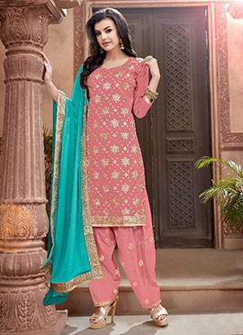 Peach Canderi Cotton Salwar Suit