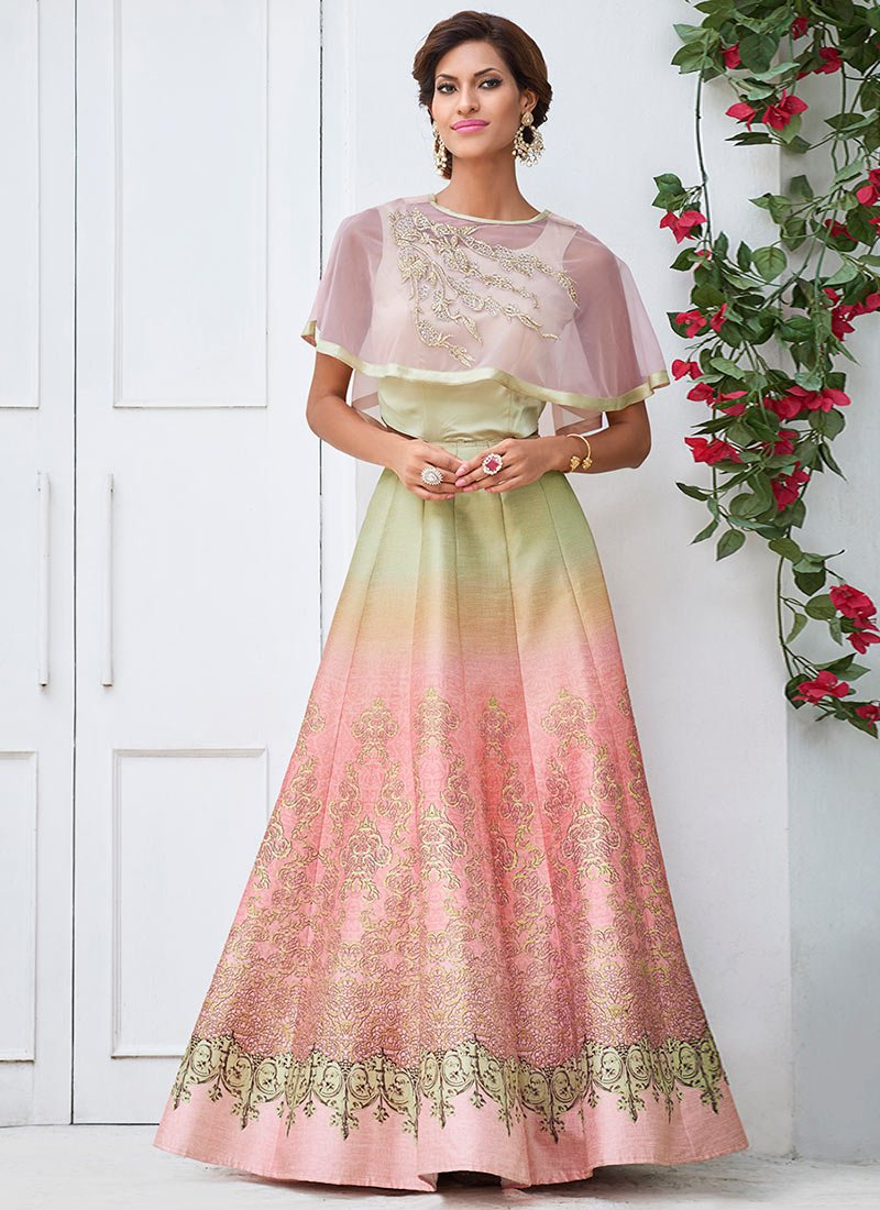 Buy Peach Cape Style Anarkali Gown Stones Printed Dresses And