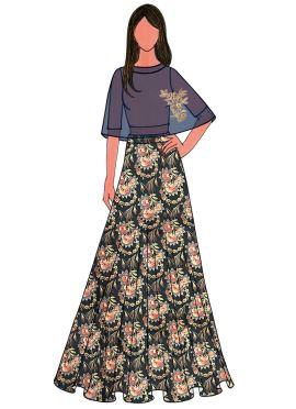 Peach Chanderi Cotton Embroidered Cape Skirt Set
