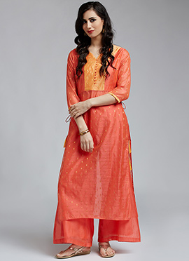 Peach Chanderi Cotton Palazzo Suit