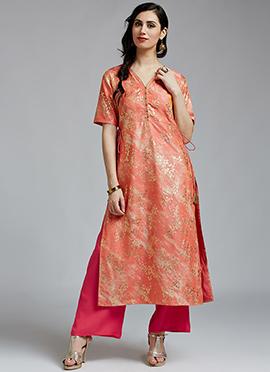 Peach Chanderi Cotton Palazzo Suit