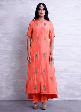Peach Chanderi Silk Palazzo Suit
