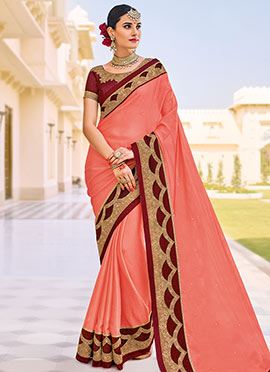 Peach Chiffo Border Saree
