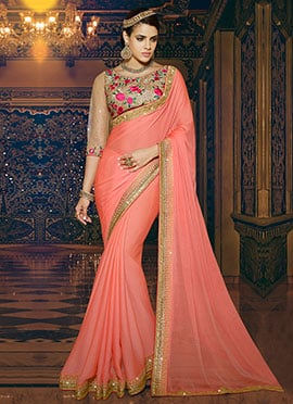 Peach Chiffon Border Saree
