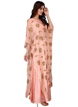 Peach Chiffon Kaftan Style Gown