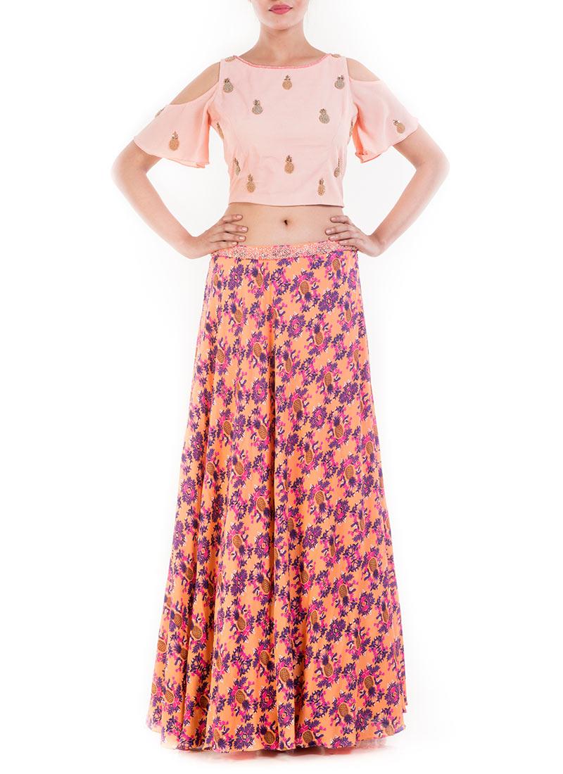 76554ab897012 Buy Peach Cold Shoulder CropTop Skirt Set