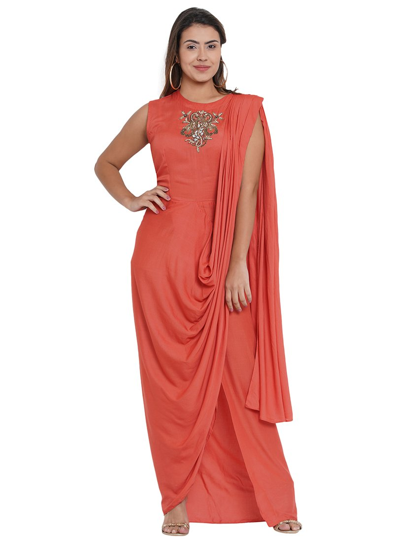Buy Peach Cotton Indowestern Dress Sequins Beads Dresses And Gown Online Shopping Iwddsnsp10