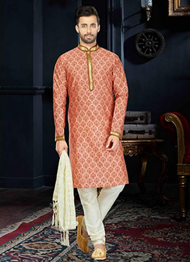 Peach Cotton Kurta Pyjama