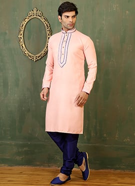 Peach Cotton Linen Kurta Pyjama