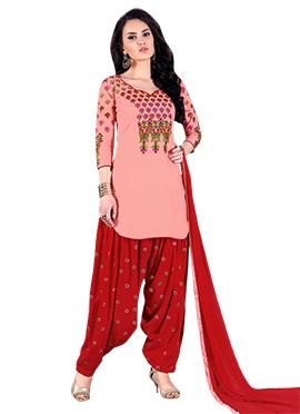 Peach Cotton Salwar Suit