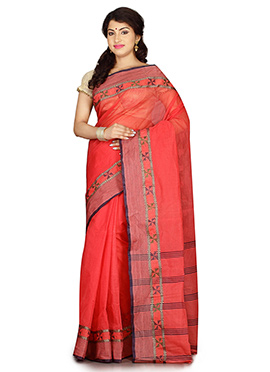 Peach Bengal Handloom Tant Saree