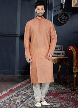 Peach Cotton Silk Kurta Pyjama
