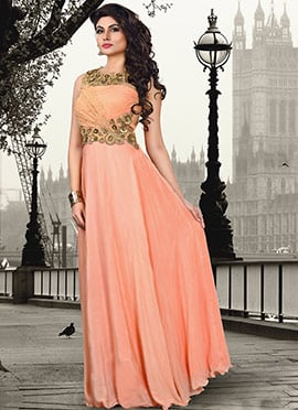 Peach Crepe Gown