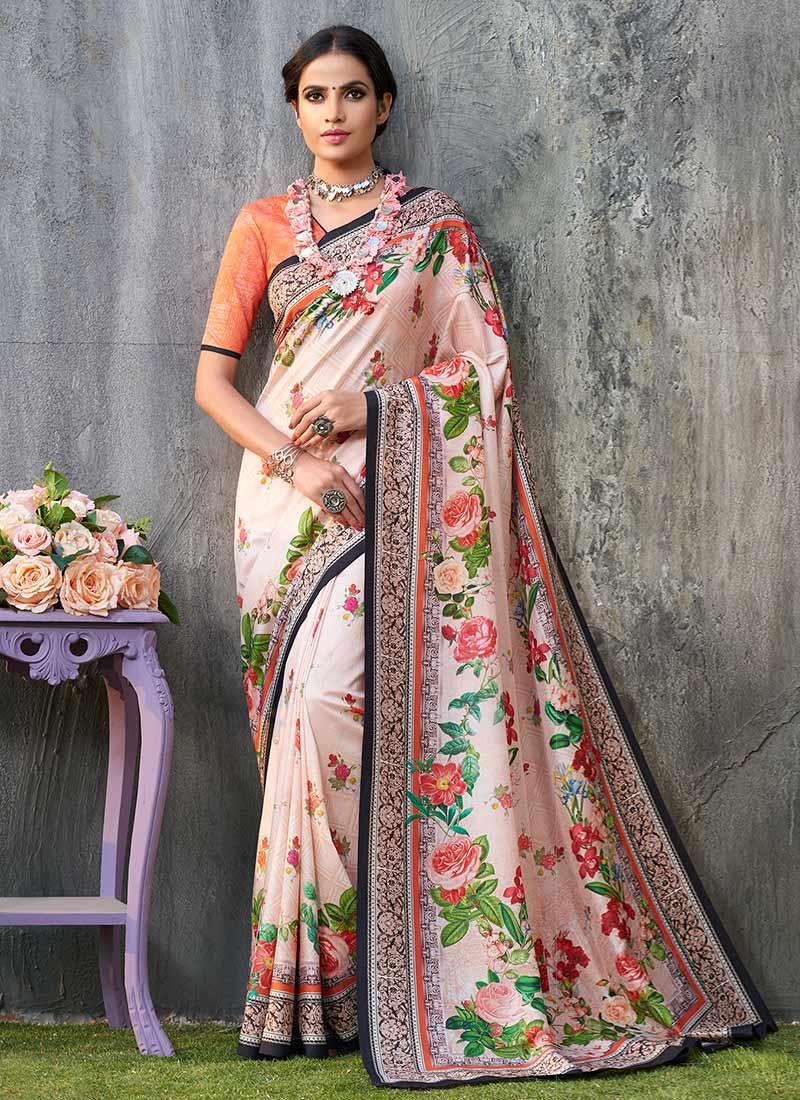 7d8241f501 Buy Peach Digital Printed Saree, Tussar , Digital Print, sari Online ...