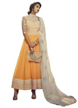 Buff Orange Embroidered Anarkali Suit