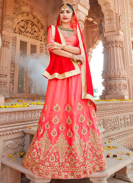 Peach Embroidered A Line Lehenga
