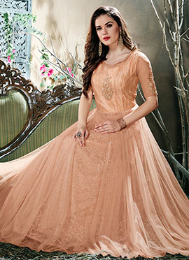 Peach Embroidered Anarkali Gown