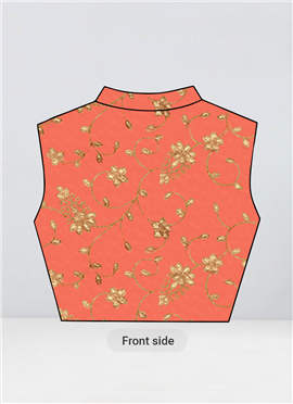 Peach Embroidered Collar Neck Blouse