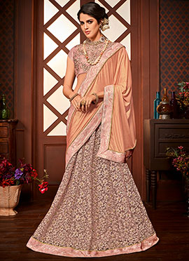 Peach Embroidered Lehenga Saree
