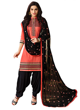 Peach Embroidered Patiala Suit