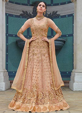 Peach Embroidered Umbrella Lehenga