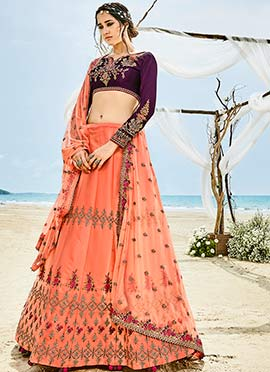 Peach Floral Embroidered A Line Lehenga