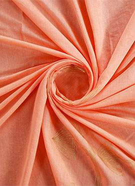 Peach Foil Printed Modal Silk Fabric