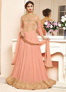 Peach Geogette Anarkali Suit