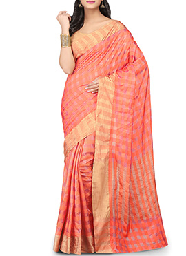 Peach Geometric Patterned Pure Silk Saree