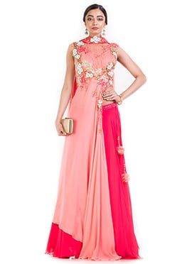 Peach Georgette A Line Long Choli Lehenga