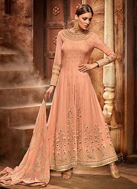 Peach Georgette Anarkali Suit