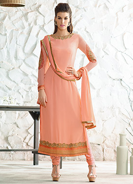 Peach Georgette Embroidered Straight Suit