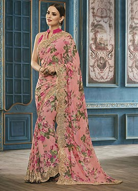 Peach Georgette Floral Saree