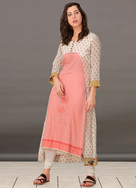 Peach Georgette Jacket Style Kurti