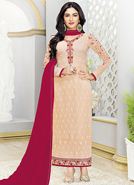 Peach Georgette Pakistani Straight Suit
