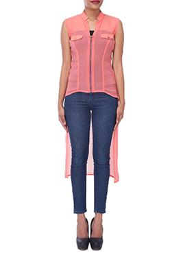 Peach Georgette Printed Tunics