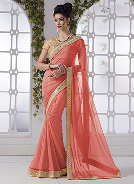 Coral Georgette Saree