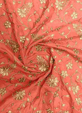 Peach Gota Patti Fabric