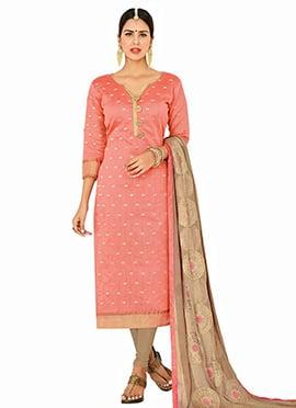 Peach Jacquard Art Benarasi Silk Straight Suit