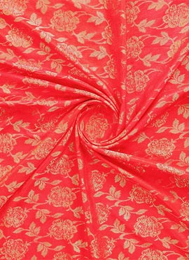 Peach Jacquard Art Silk Fabric