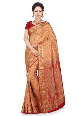 Peach Kancheepuram Pure Silk Saree