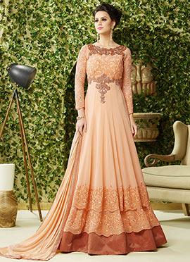 Peach Layered Georgette Floor Length Anarkali Suit