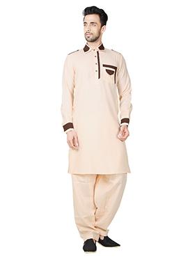 Peach Linen Cotton Pathani Set
