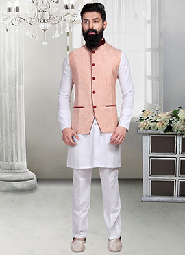 Peach Linen Nehru Jacket