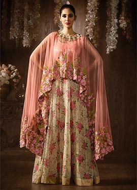 Peach N Beige Net Cape Style Anarkali Suit