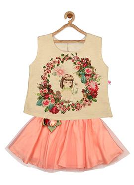Peach N Beige Net Kids Dress